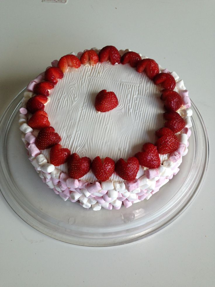 Strawberry, marshmallow, fondant cake my by Amber 9 years old