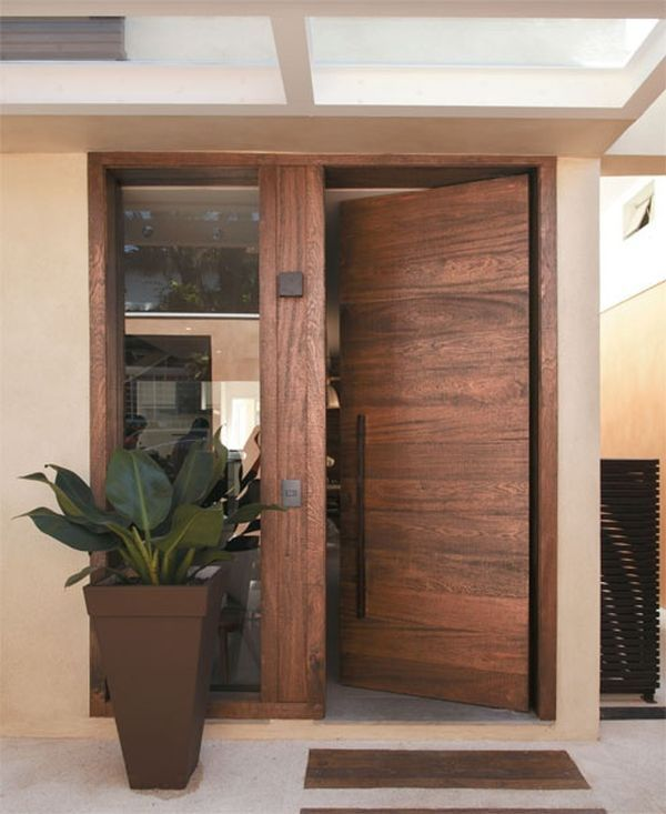 modern wooden front door - Front Door Designs For Homes