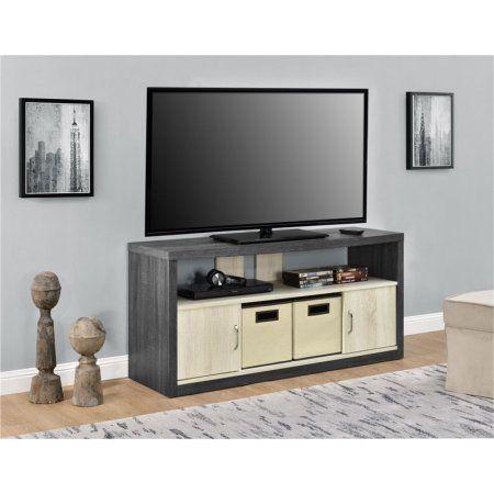 Altra Winlen 50 inch TV Stand with 2 Bins, Carmen Oak/Natural Oak, Brown