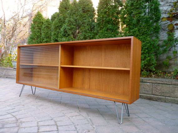 mid century modern danish teak hutch bookcase credenza by circa60