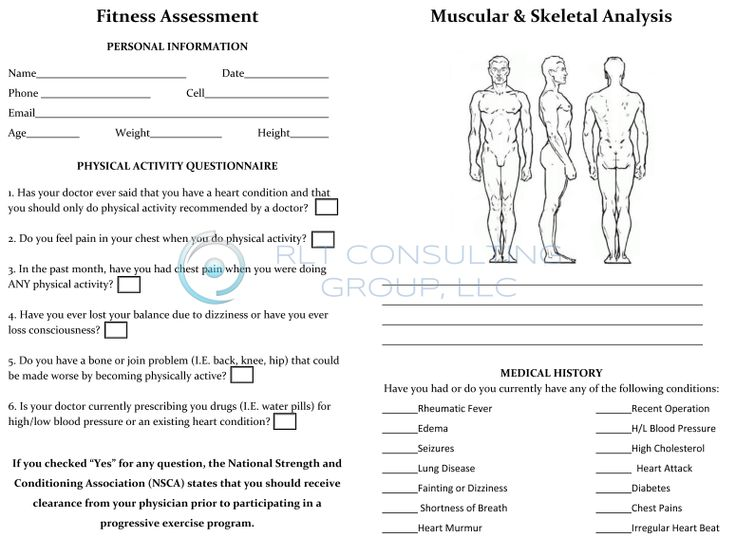 Fitness Assessment Form - Design Templates