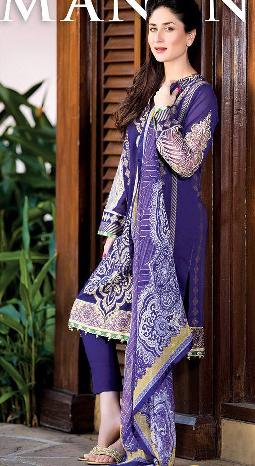 Buy Navy Blue Embroidered Cotton Lawn Salwar Kameez by Cresent Lawn Collection 2015.