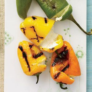 Cheese-Stuffed Grilled Peppers: Cheese Stuffed Grilled, Chee Stuffed, Cream Cheese, Peppers Recipes, Grilled Peppers, Cheese Mixture, Tucks Inside, Inside Turning, Stuffed Peppers