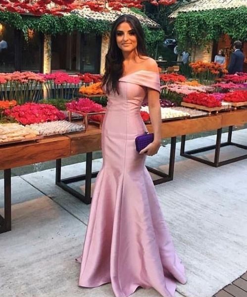 470b086935d8d Charming Mermaid Off the Shoulder Blush Pink Satin Long Prom Dresses,  Elegant Evening Dresses