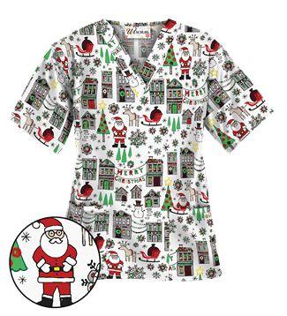 UA Christmas Town White Scrub Top Style # H400CTW  #uniformadvantage #uascrubs #scrubs #printscrubs #Christmas #Christmasscrubs