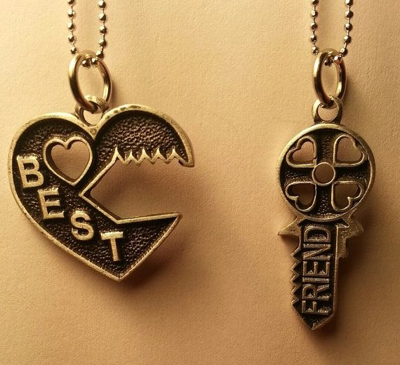 New Key Puzzle Best Friend Necklace - 2 piece Necklace BFF Split - Free Shipping on Etsy, $14.99