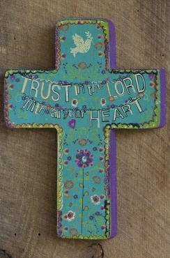 """""""Trust in the Lord""""  Wooden Cross."""