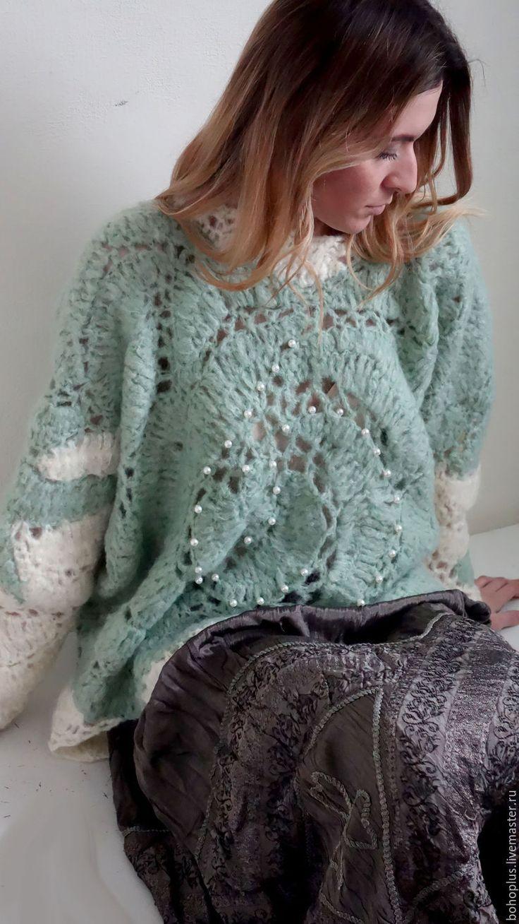"""Buy Свитер в стиле бохо """"Лед"""" - свитер, мятный, одежда, теплый свитер, одежда для женщин"""