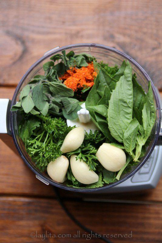 Parsley, garlic, basil, oregano and chili powder for chimichurri