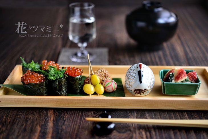 いくら軍艦 懐石風ワンプレート - SalmonCaviarSushi Washoku Plate.