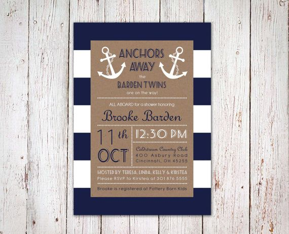 Nautical Baby Shower Invitation for Twins by CarolLnDesigns