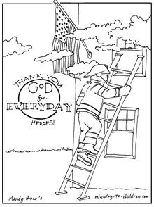 everyday heroes coloring page with firefighter