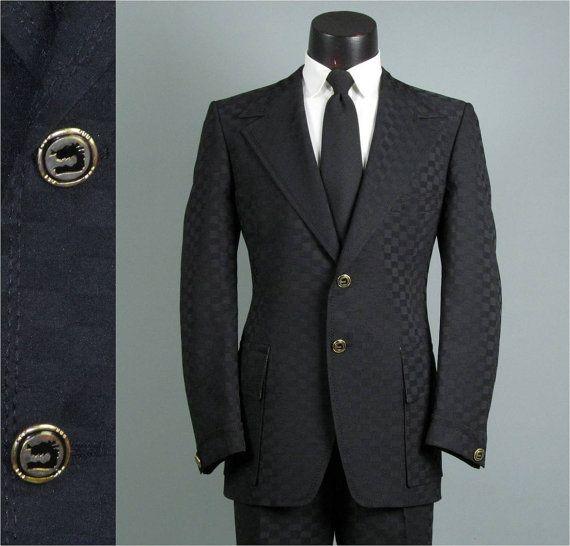 Vintage Mens Suit 1970s JET BLACK CHECKERBOARD by jauntyrooster, $199.00