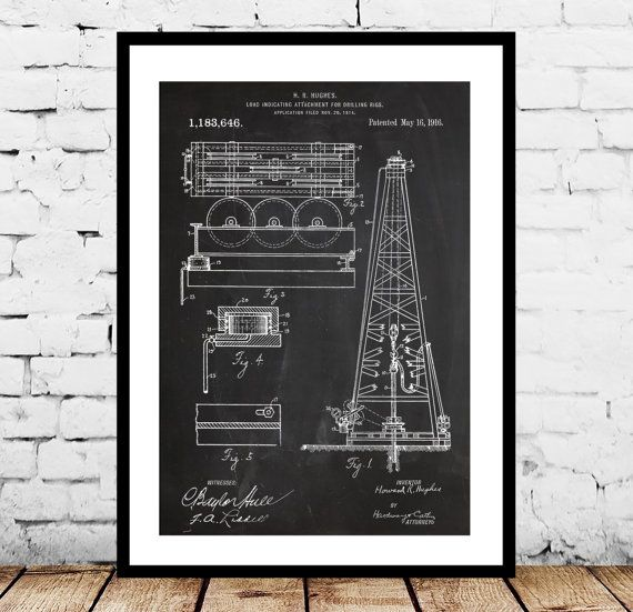Oil Drilling Rig Patent , Howard Hughes Poster, Oil Drilling Rig Patent by Howard Hughes, Oil Rig Patent by STANLEYprintHOUSE  0.79 USD  This is a vintage patent print. The Oil Drilling Rig Patent by Howard Hughes from 1916.  This poster is printed using high quality archival inks, and will be of museum quality. Any of these posters will make a great affordable gift, or tie any room together.  Please choose between di ..  https://www.etsy.com/ca/listing/229566491/oil-drilling-rig-p..