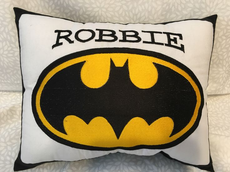 Batman, Gotham, Batman Pillow, Batman Embroidery by DoorBeeDesigns on Etsy https://www.etsy.com/listing/288957085/batman-gotham-batman-pillow-batman
