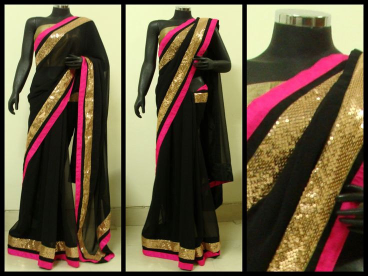 Black georgette saree with gold sequin border and a pop of bright pink.