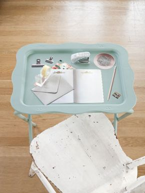 Pretty decoupaged folding tray! We did one with stencils http://www.womansday.com/home/craft-ideas/how-to-update-a-vintage-tv-tray-115437?click=main_sr #DIY