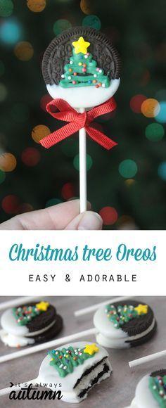 Chupetes de galletas oreo de decoradas con arbolito navideño. #PostresNavidad