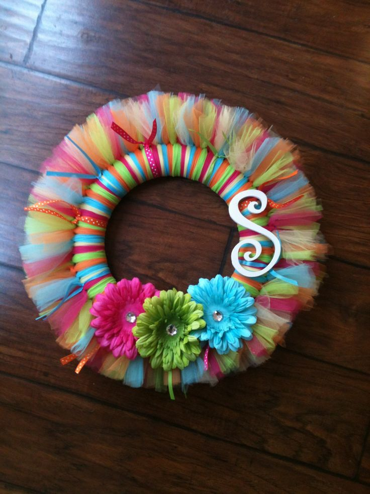 Making something like this for Kinsley! Personalized Tutu Wreath. $28.00, via Etsy.