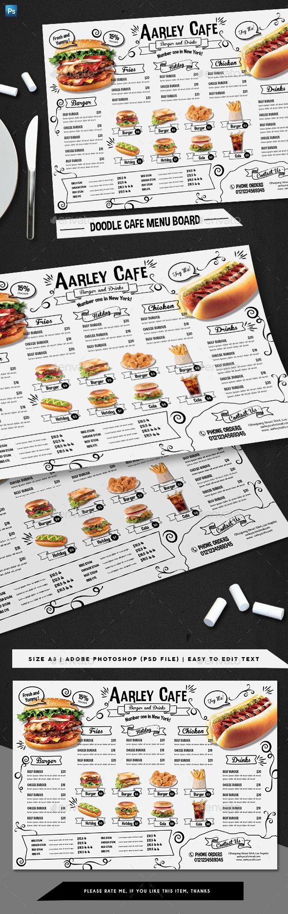 Doodle Cafe Menu Board — Photoshop PSD #elegant #flyer • Available here ➝ https://graphicriver.net/item/doodle-cafe-menu-board/20813314?ref=pxcr