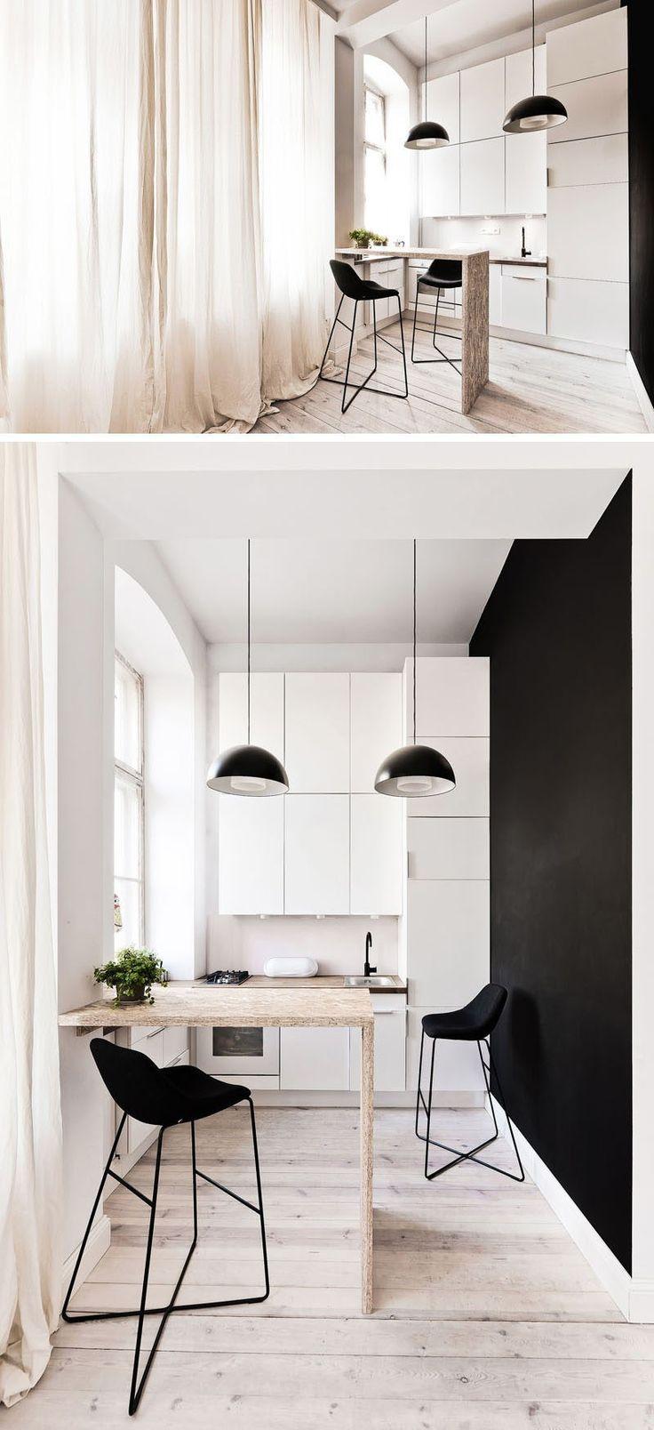 Küche Design-Ideen 14 Küchen, die das Beste aus einem kleinen Raum machen / / auch wenn dieses komplette Appartement nur 312 Quadratfuß, die winzige Küche noch verwaltet alle das wesentliche enthalten und beinhaltet jede Menge Stauraum und eine kleine Ar-Bereich zu essen.
