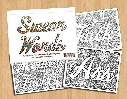 Swear Word Adult Coloring Book With 40 Sweary Curse Words 799 349 Shipping
