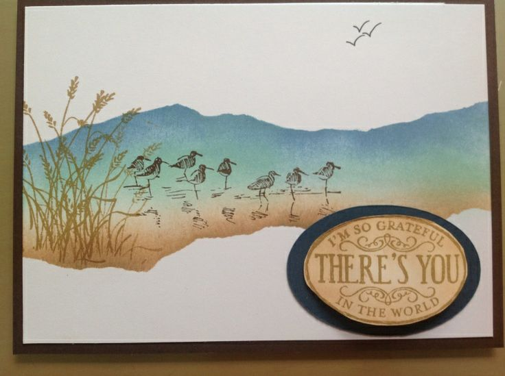 "Card uses Stampin' Up ""Wetlands"" stamp set."