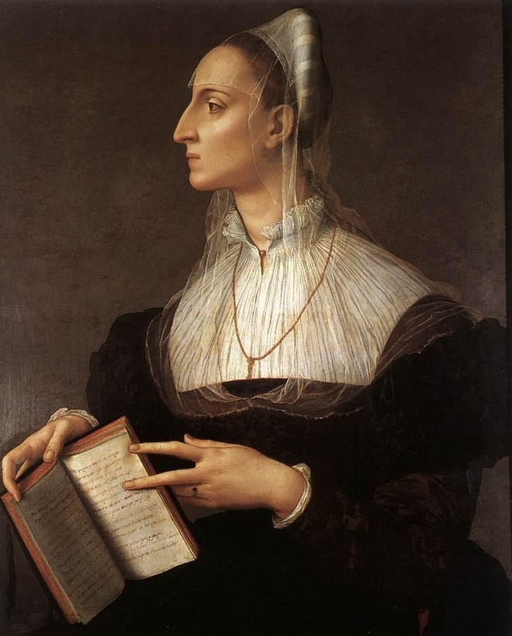 Bronzino, Agnolo di Cosimo (1502 - 1572)  Laura Battiferri  Date: 1555-1560  Movement: Renaissance (Late, Mannerism)  Theme: Portrait  Technique: Oil on canvas  Museum: Palazzo Vecchio  Location: Florence, Italy  Description:  Dimensions: 83 x 60 cm