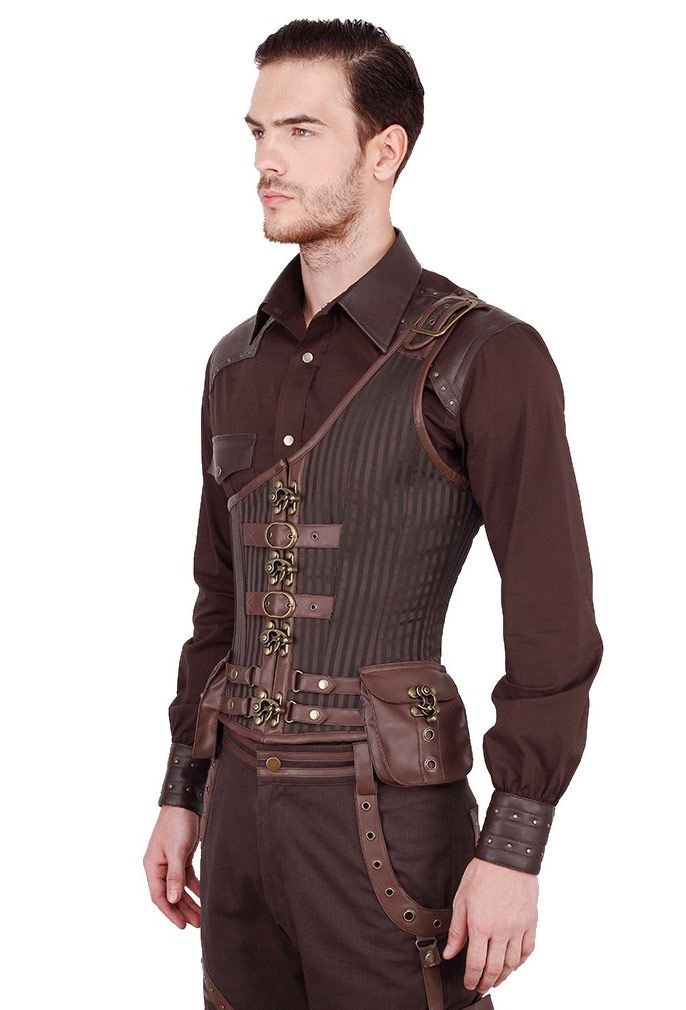 Corset homme serre taille steampunk marron tissu brocart avec poche   Shop : www.japanattitude.fr