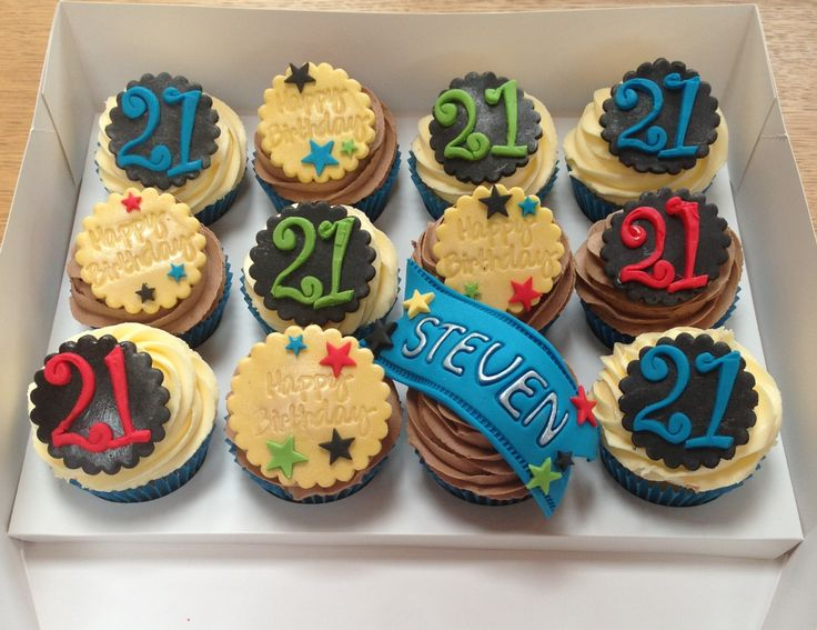 21st birthday cupcakes black yellow blue green red