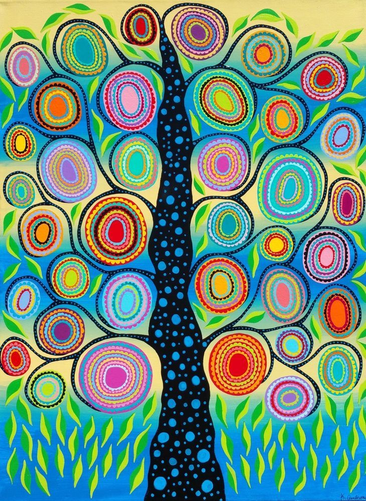Original Mexican Folk Art Tree of Life Flowers Leaves Blue Kerri Ambrosino #Surrealism