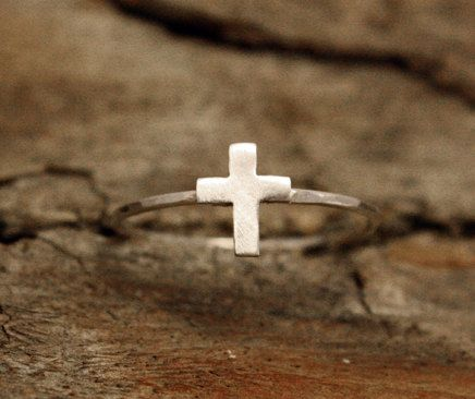 Tiny Cross Ring by SevenTrees on Etsy