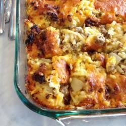 Ovenschotel met aardappel, worst en kaas @ allrecipes.nl