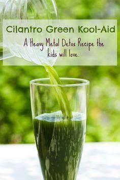A heavy metal detox drink the whole family will love! Heavy Metal Detox Recipe with Cilantro and Chlorella. Cilantro Green Kool-Aid.
