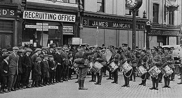 World war 1 British army recruiting office on Patrick's Street Co.Cork in 1915. As seen below many men brought their sons to the events.