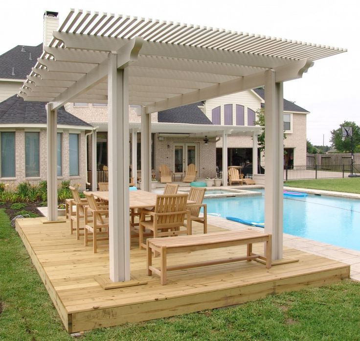 Wood Patio With Modern Pergola Roof Covering Design #KBHome #SanAntonio