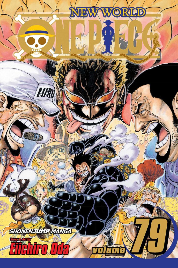 One Piece, Vol. 79, by Eiichiro Oda (released Aug 2, 2016). The battle between Luffy and Doflamingo enters the final round. Luffy remains confident, but he'll need the aid of the people of Dressrosa if he is to have any hope of toppling this terrible tyrant. Can peace finally arrive for the long-suffering citizens of this island?!