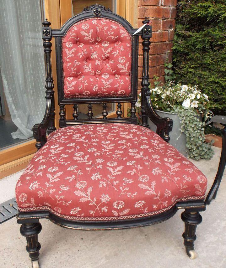Antique Victorian Nursing/Bedroom Chair - Designer Fabric by EllaJenkinsDesigns on Etsy