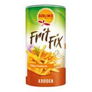 Frit-Fix Geeft frieten een hartige bite... Gezonder en lekkerder dan zout. Ook lekker op saté, gebakken aardappelen, kip, vlees, wokgerechten, BBQ en marinades. Glutenvrij, Lactosevrij, Vegetarisch, Zonder MSG, kleurstoffen en bewaarmiddelen. www.kokenmetsublimix.nl