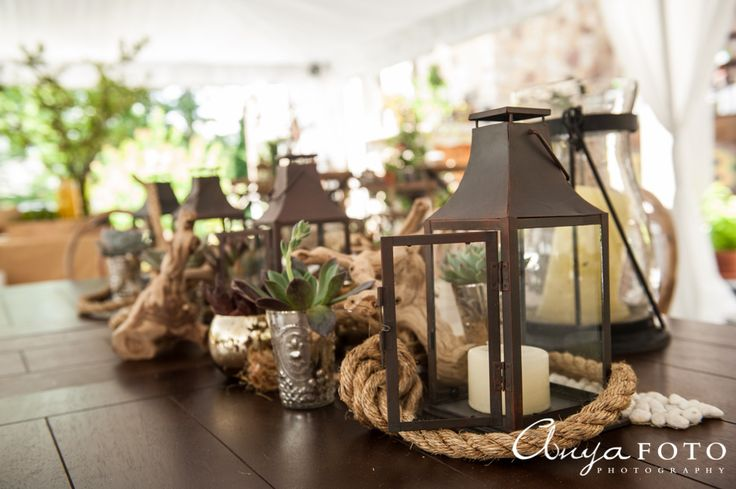 Simple rustic centerpieces for parties | Aramat Events // Images by AnyaFoto Photography // www.anyafoto.com