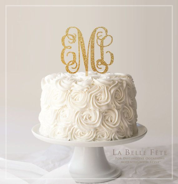 Welcome to my shop!! Id love the opportunity to serve you!  This listing is for a 3-letter, custom monogram cake topper in several sizes, attached to