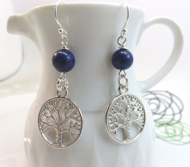 Lapis lazuli bead earrings silver tree of life charm dangles sterling ear wires