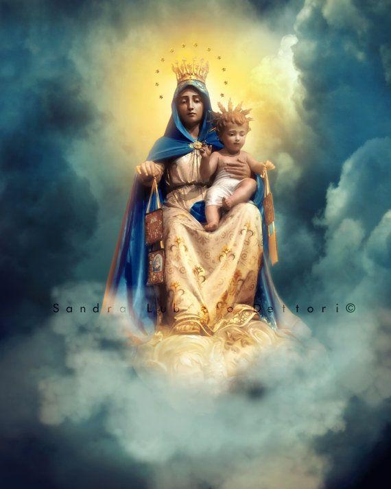 Our Lady of Mount Carmel, Scapular, Religious Art, Print by Sandra Lubreto Dettori