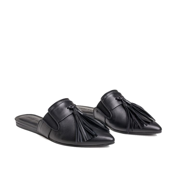 Mule Slide with Tassels in Black Leather, size 39.5 (Can buy at Jenni Kayne store)