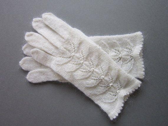Hand Knit Gloves White Wool Gloves For Women Knit Fingrless Gloves Womens Gloves Spring Accessories