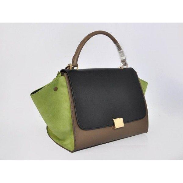 Celine Trapeze Leather Handbag Green Cream Black | Love stuff ...
