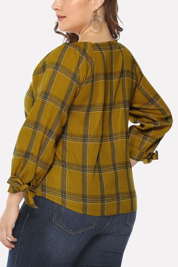 Women Khaki Plaid Print V Neck Button Tied Cuff Casual Plus Size Blouse – XL