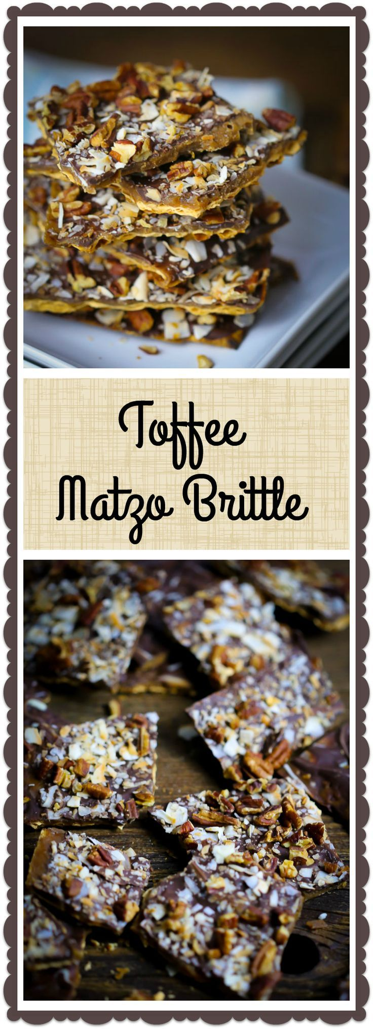 Crispy matzo is layered with toffee, chocolate, pecans and coconut into a delectable Passover treat.