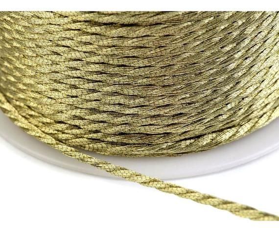 Cords 28m Old Twisted Cord 1.5mm With Metallic Thread Lurex Ribbons And Strings Haberdashery