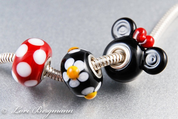 Set of Magic Mouse (Girl) Lampwork and Sterling Big Hole Beads, fits Pandora, Biagi, Troll, Chamilia